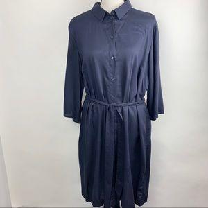 H & M Navy belted t-shirt dress
